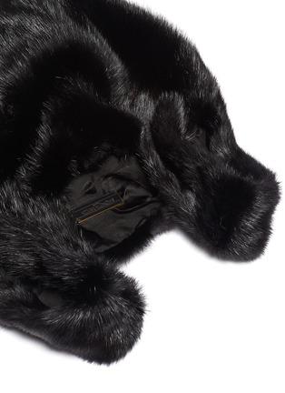 Detail View - Click To Enlarge - SIMONETTA RAVIZZA - 'Furrissima' logo stripe mink fur sac bag