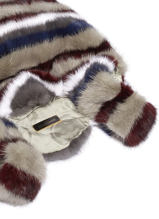 Detail View - Click To Enlarge - SIMONETTA RAVIZZA - 'Furrissima' stripe print mink fur sac bag