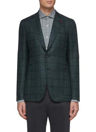 Main View - Click To Enlarge - ISAIA - 'Cortina' windowpane check wool-silk blazer