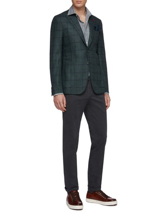 Figure View - Click To Enlarge - ISAIA - 'Cortina' windowpane check wool-silk blazer