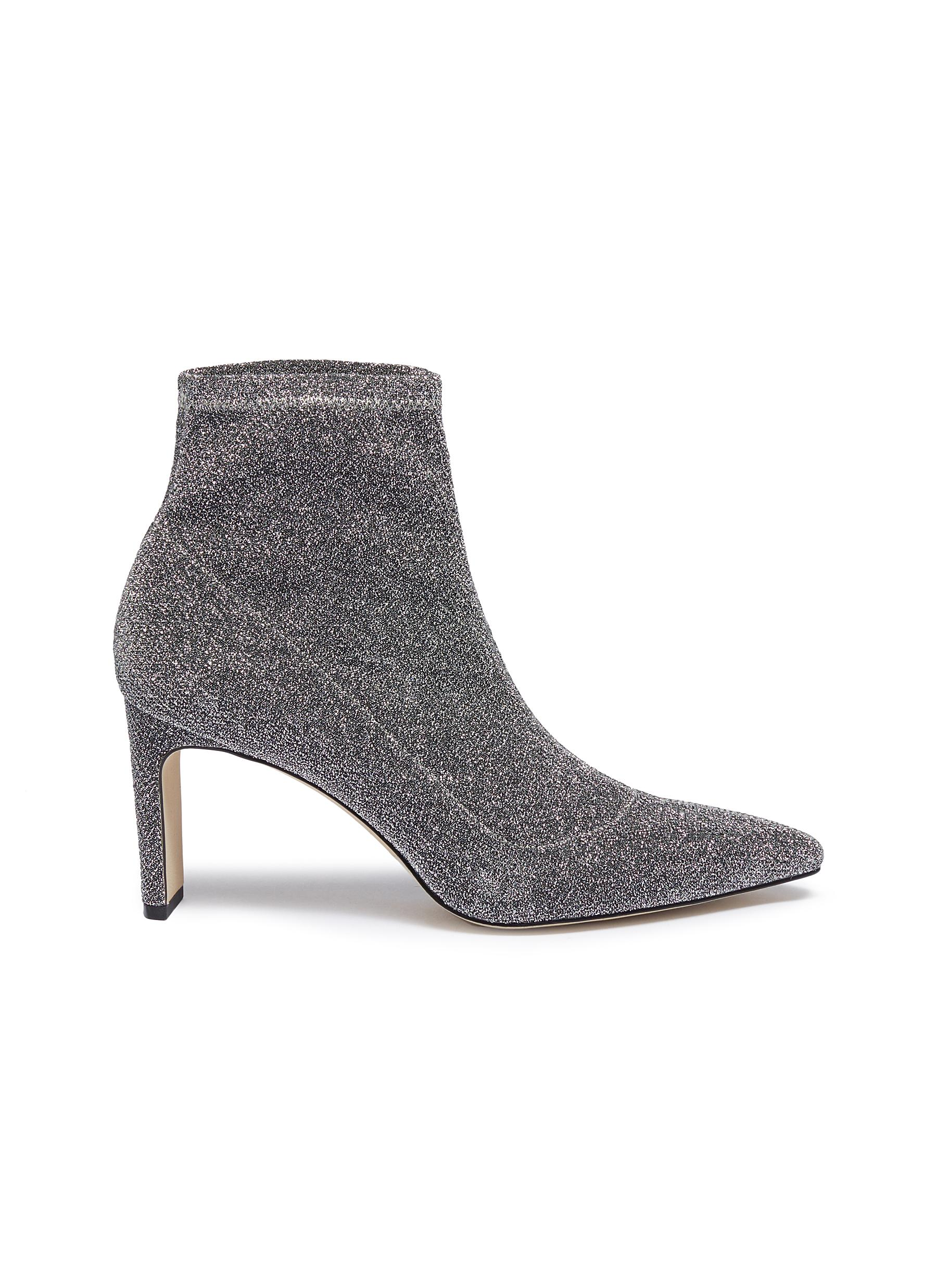 Hank glitter sock knit ankle boots by Pedder Red