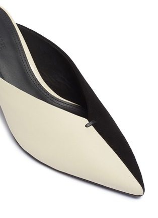 Detail View - Click To Enlarge - MERCEDES CASTILLO - 'Natti' colourblock suede and leather choked-up mules
