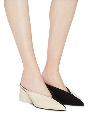 Figure View - Click To Enlarge - MERCEDES CASTILLO - 'Natti' colourblock suede and leather choked-up mules