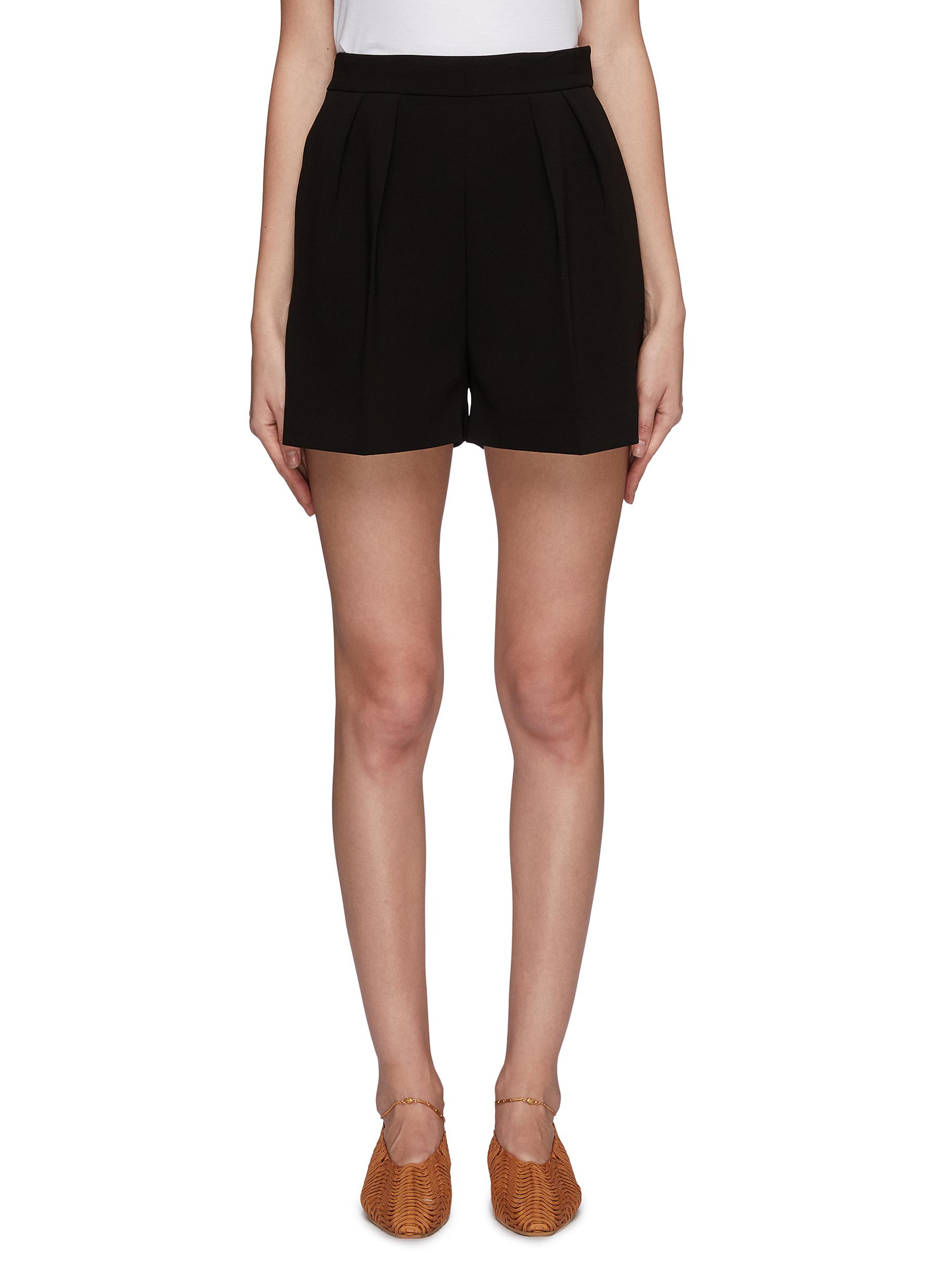 Pleated crepe shorts by Theory