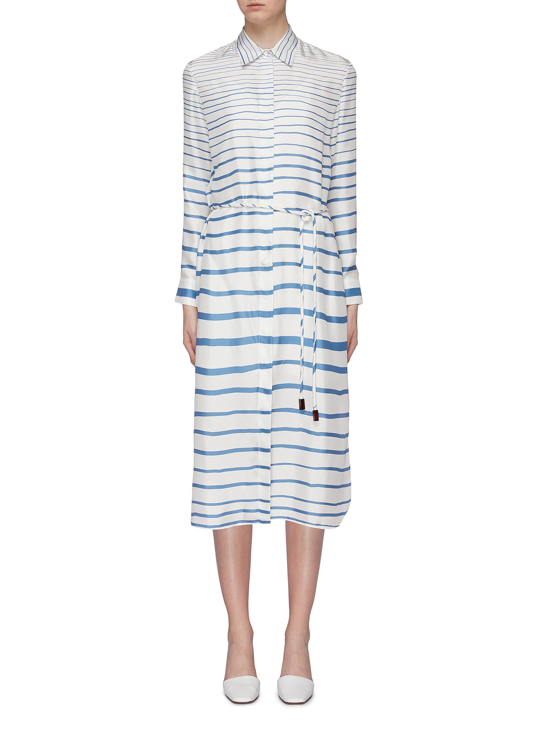 Tie waist stripe silk twill shirt dress by Theory