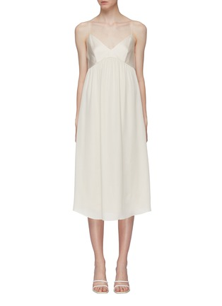 Main View - Click To Enlarge - THEORY - 'Combo' contrast bodice silk georgette slip dress