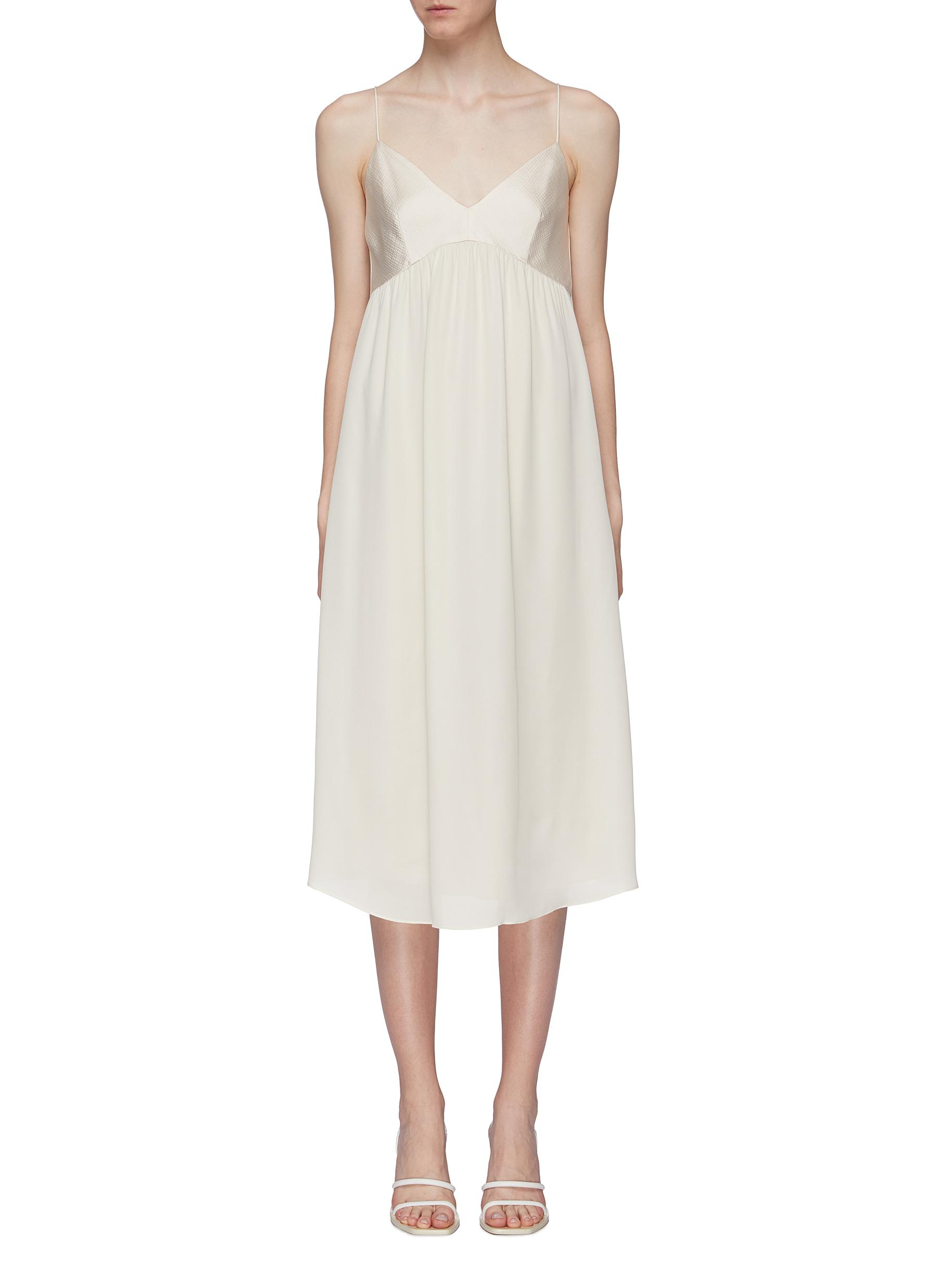 Combo contrast bodice silk georgette slip dress by Theory