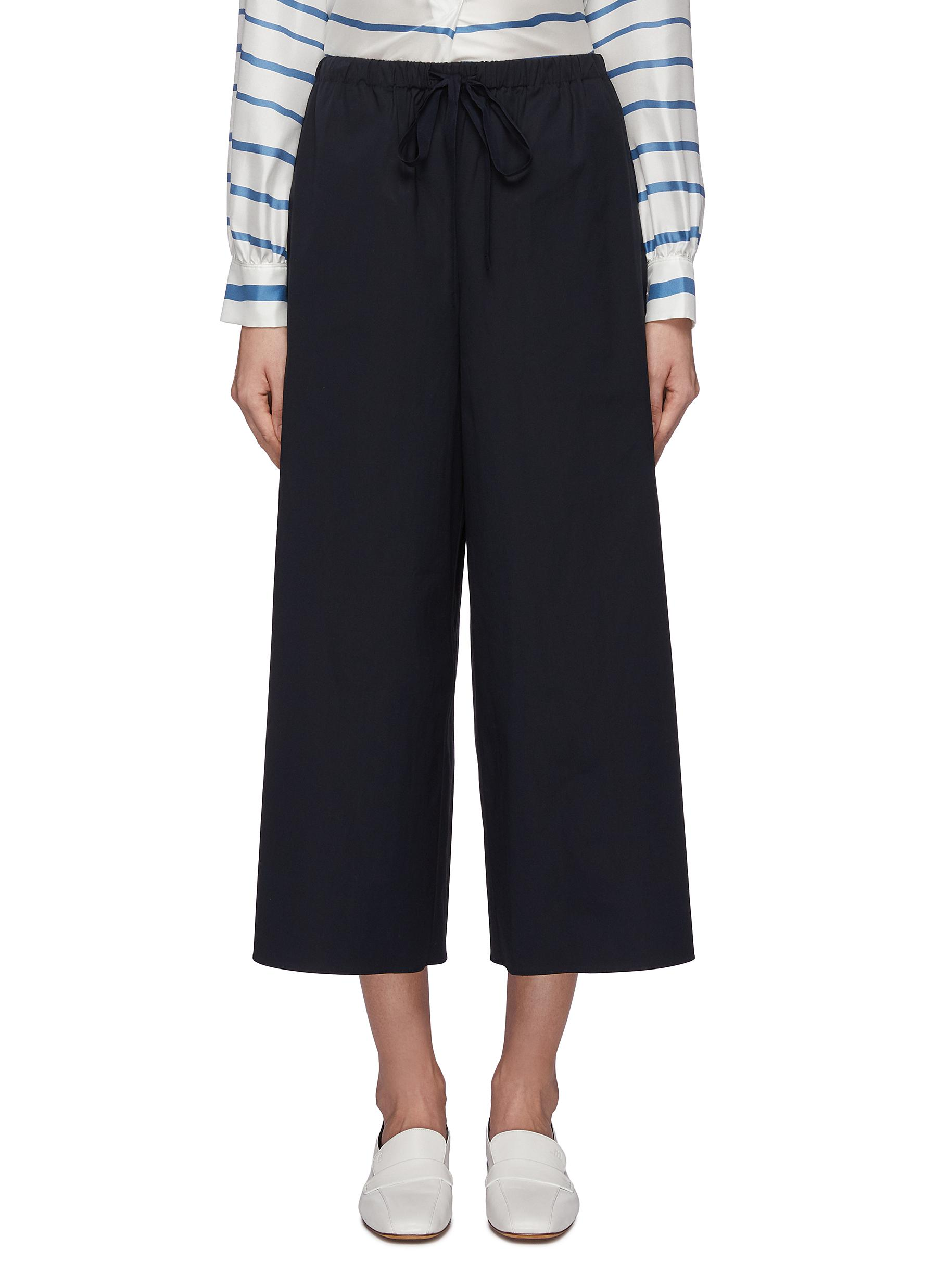 Drawstring poplin culottes by Theory