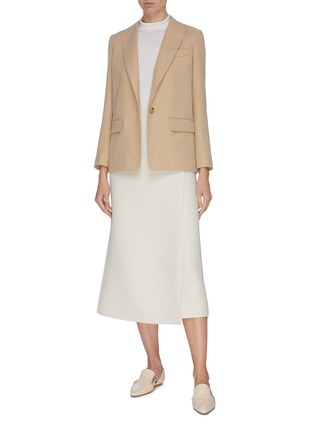 Figure View - Click To Enlarge - THE ROW - 'Saio' wool silk blend midi wrap skirt