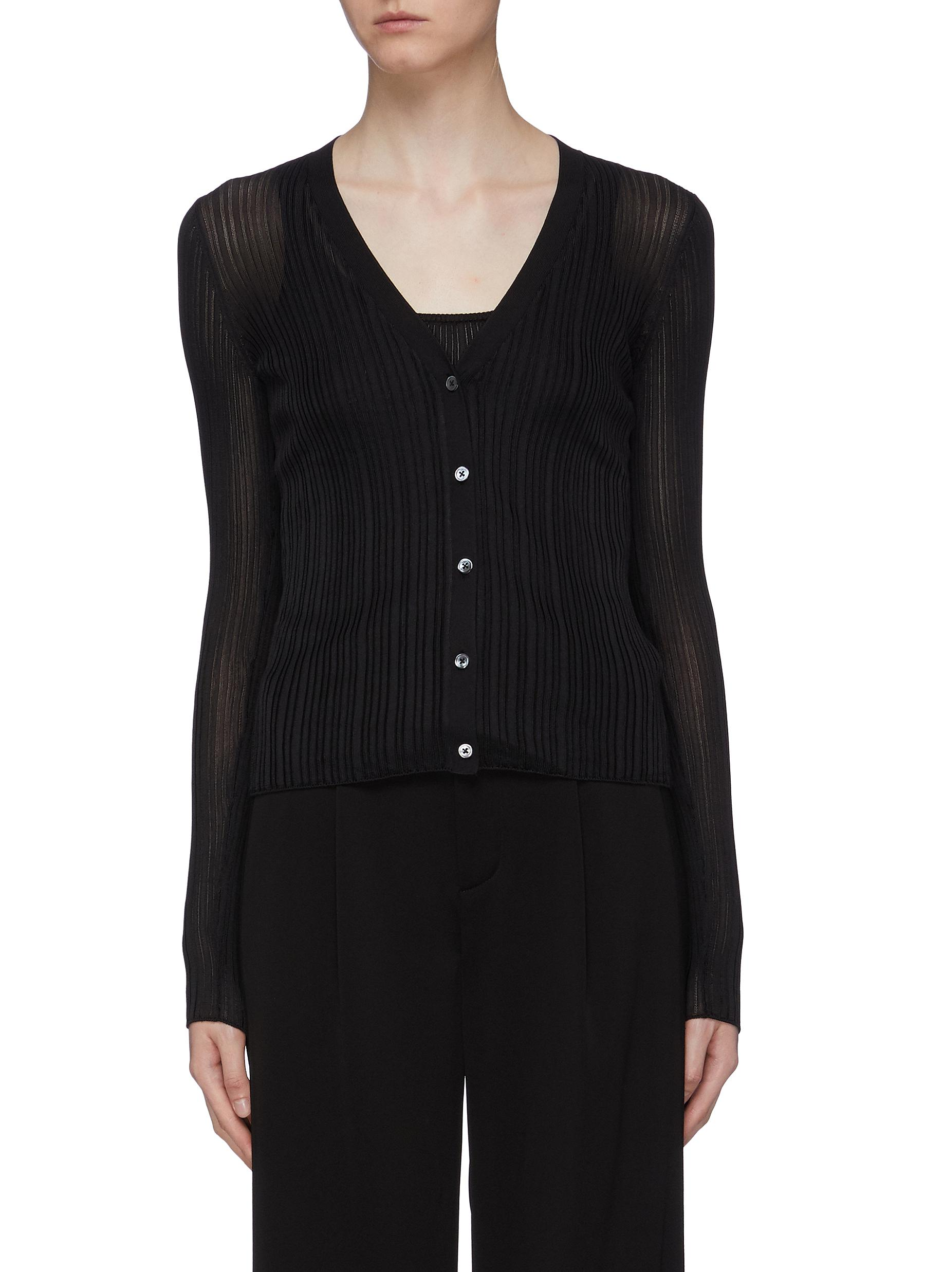 Ribbed pointelle knit cardigan by Theory