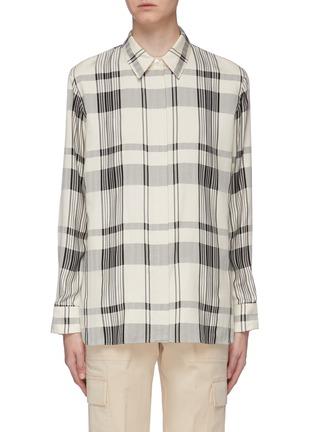 Main View - Click To Enlarge - THEORY - 'Classic' tartan plaid oversized herringbone shirt