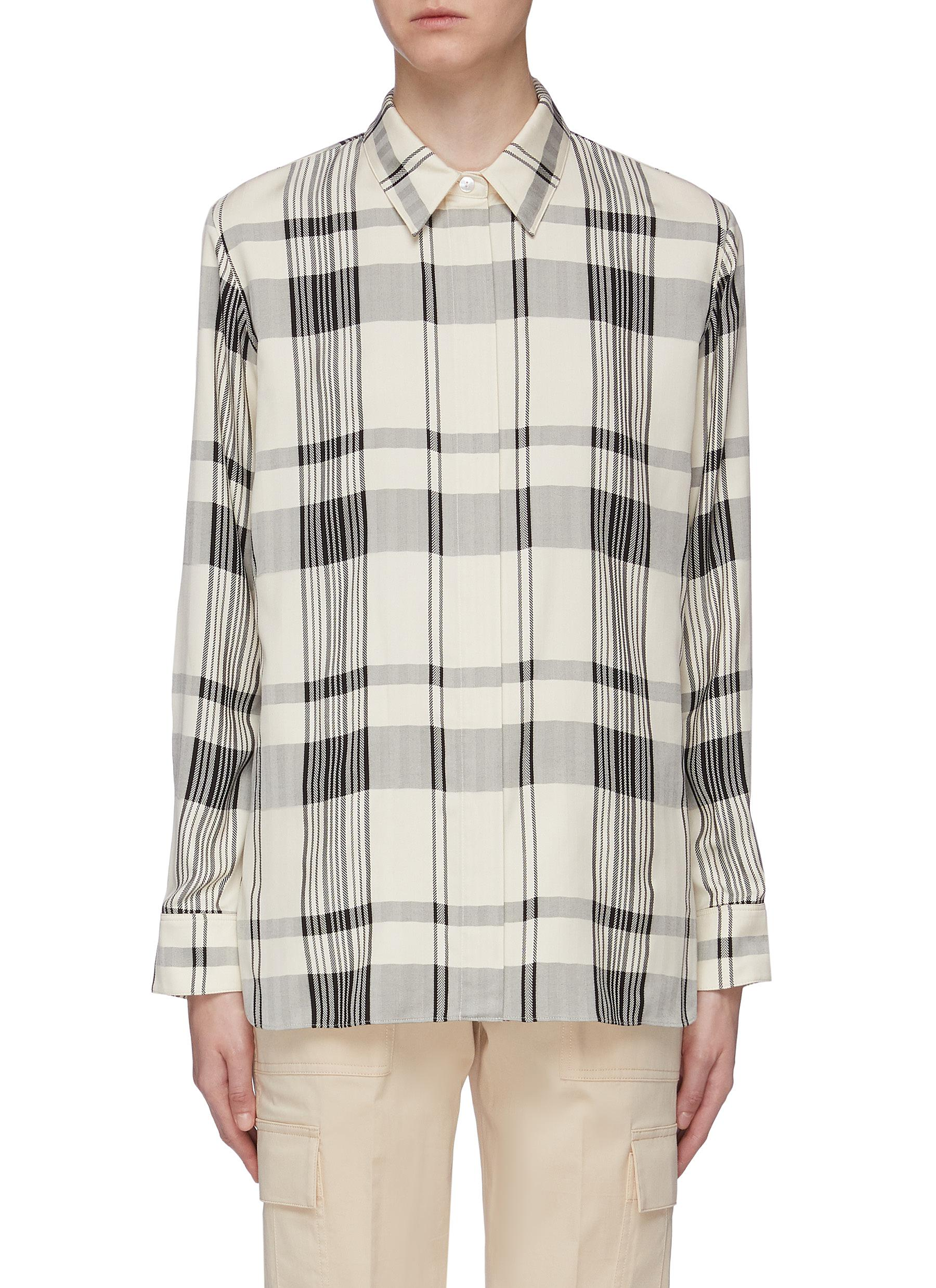 Classic tartan plaid oversized herringbone shirt by Theory