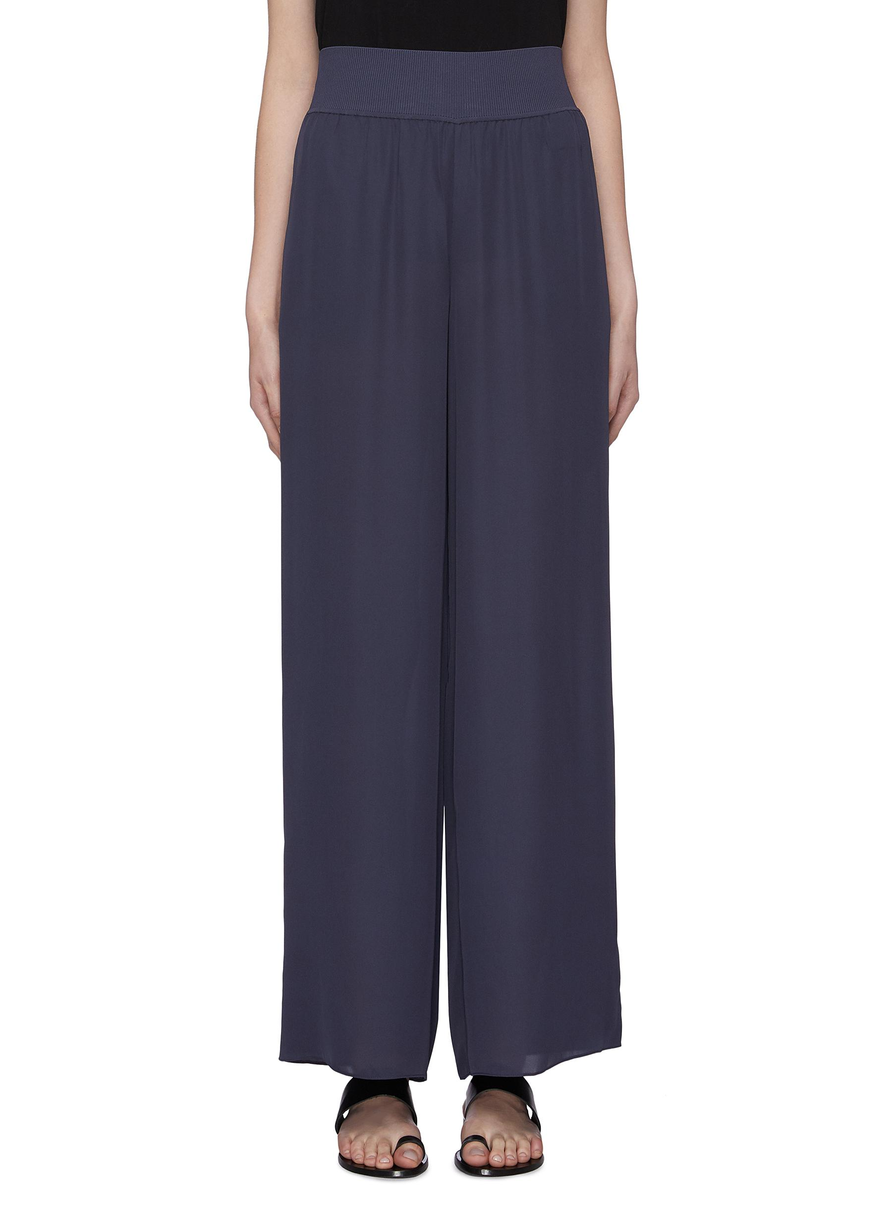 Wide leg crepe silk pants by Theory