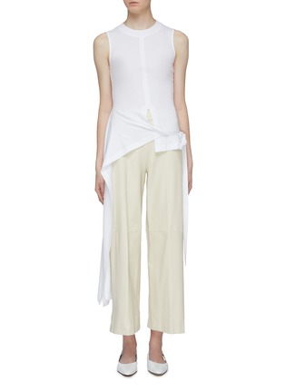 Main View - Click To Enlarge - ROSETTA GETTY - Side tie asymmetric apron wrap panel sleeveless top