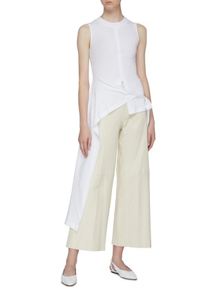 Figure View - Click To Enlarge - ROSETTA GETTY - Side tie asymmetric apron wrap panel sleeveless top