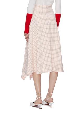 Back View - Click To Enlarge - ROSETTA GETTY - Split asymmetric hem grid jacquard midi skirt