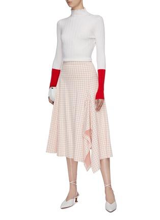 Figure View - Click To Enlarge - ROSETTA GETTY - Split asymmetric hem grid jacquard midi skirt