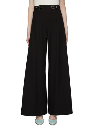 Main View - Click To Enlarge - ROSETTA GETTY - Grommet waist tab twill wide leg pants