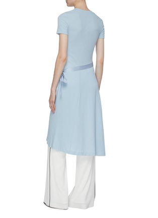 Back View - Click To Enlarge - ROSETTA GETTY - Side tie asymmetric apron wrap panel T-shirt dress