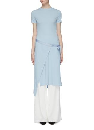 Main View - Click To Enlarge - ROSETTA GETTY - Side tie asymmetric apron wrap panel T-shirt dress