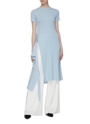Figure View - Click To Enlarge - ROSETTA GETTY - Side tie asymmetric apron wrap panel T-shirt dress