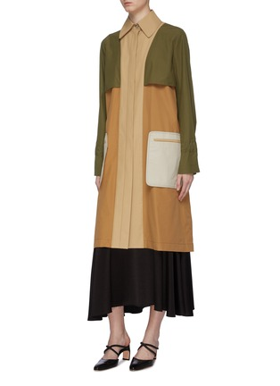 Detail View - Click To Enlarge - ROSETTA GETTY - Belted colourblock patch pocket trench coat