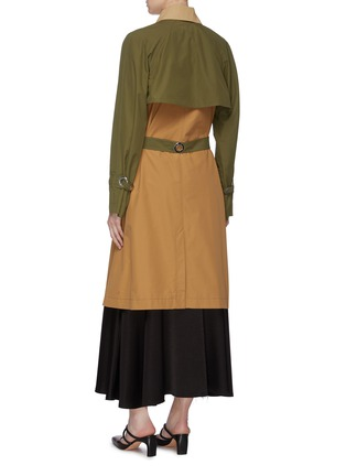 Back View - Click To Enlarge - ROSETTA GETTY - Belted colourblock patch pocket trench coat
