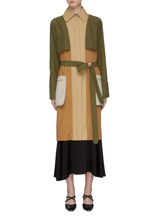 Main View - Click To Enlarge - ROSETTA GETTY - Belted colourblock patch pocket trench coat