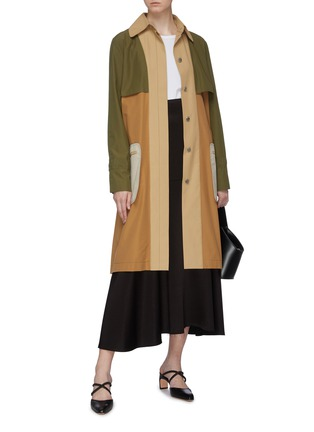 Figure View - Click To Enlarge - ROSETTA GETTY - Belted colourblock patch pocket trench coat