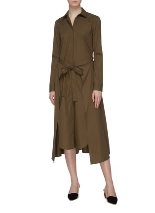Figure View - Click To Enlarge - ROSETTA GETTY - Tie apron wrap panel shirt dress