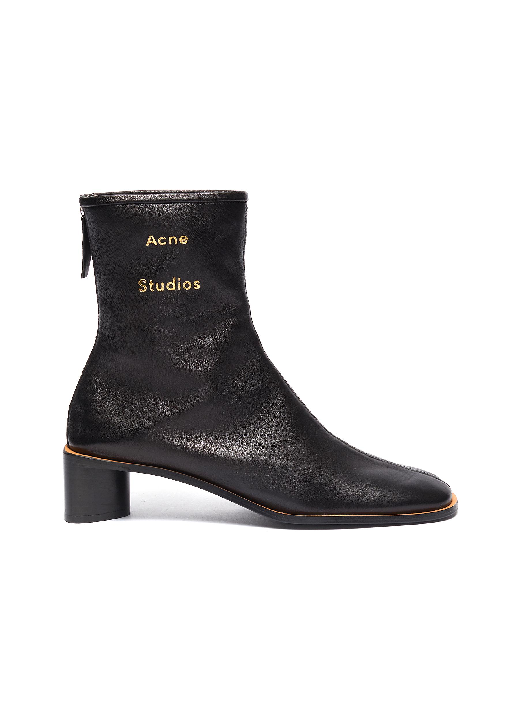 Triangular heel leather ankle boots by Acne Studios