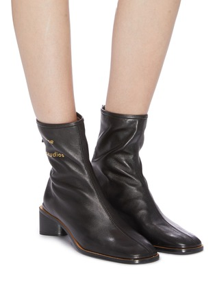 Figure View - Click To Enlarge - ACNE STUDIOS - Triangular heel leather ankle boots