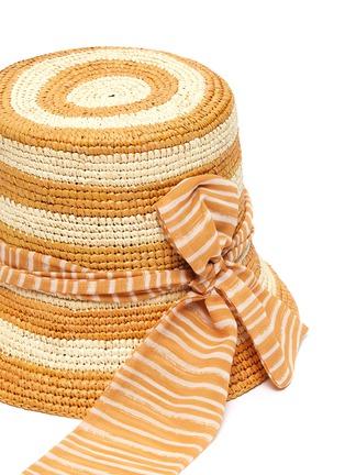 Detail View - Click To Enlarge - SENSI STUDIO - Stripe toquilla straw bucket hat