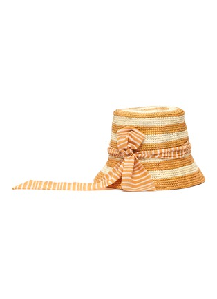 Figure View - Click To Enlarge - SENSI STUDIO - Stripe toquilla straw bucket hat