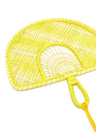 Detail View - Click To Enlarge - SENSI STUDIO - Tassel colourblock woven toquilla straw fan