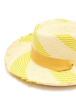 Detail View - Click To Enlarge - SENSI STUDIO - 'Dumont' ribbon band stripe toquilla straw hat