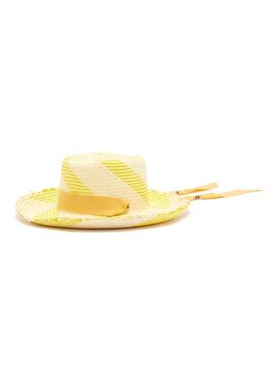 Main View - Click To Enlarge - SENSI STUDIO - 'Dumont' ribbon band stripe toquilla straw hat