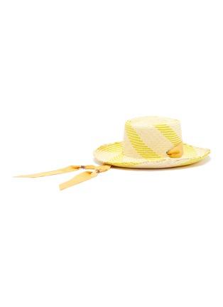 Figure View - Click To Enlarge - SENSI STUDIO - 'Dumont' ribbon band stripe toquilla straw hat