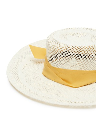 Detail View - Click To Enlarge - SENSI STUDIO - Ribbon open weave Toquilla straw boater hat