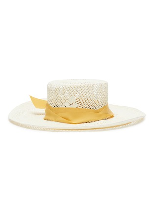 Main View - Click To Enlarge - SENSI STUDIO - Ribbon open weave Toquilla straw boater hat