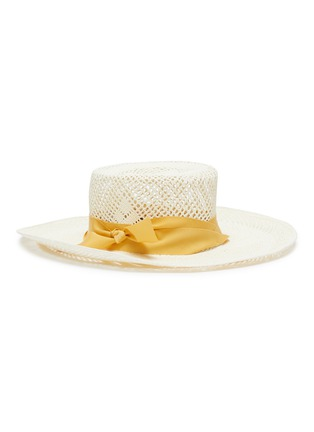 Figure View - Click To Enlarge - SENSI STUDIO - Ribbon open weave Toquilla straw boater hat