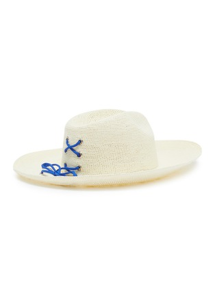 Figure View - Click To Enlarge - SENSI STUDIO - Lace-up toquilla straw hat