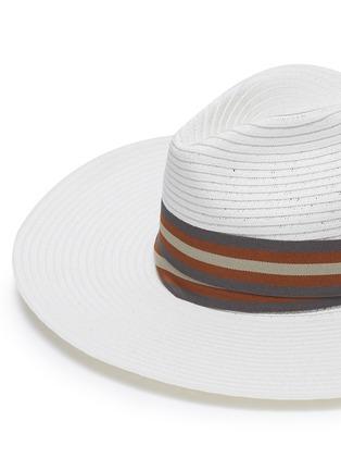 Detail View - Click To Enlarge - SENSI STUDIO - Stripe ribbon straw Panama hat