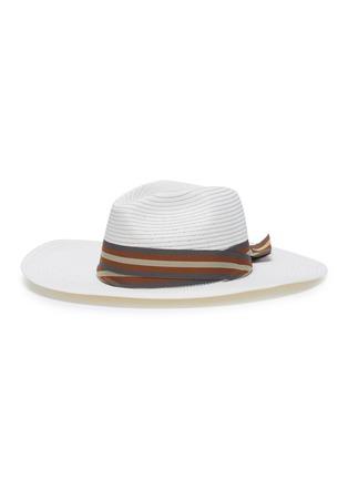Main View - Click To Enlarge - SENSI STUDIO - Stripe ribbon straw Panama hat