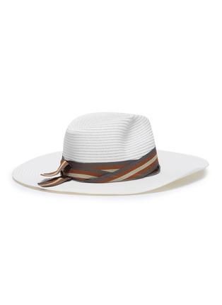 Figure View - Click To Enlarge - SENSI STUDIO - Stripe ribbon straw Panama hat