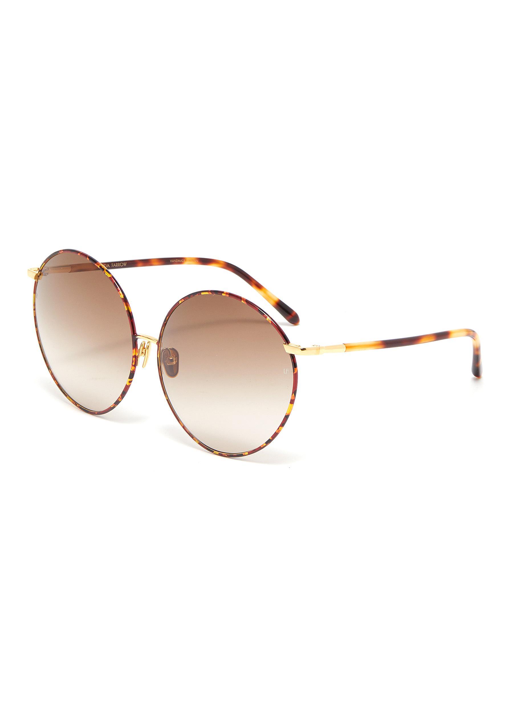 Linda Farrow Metal Bridge Tortoiseshell Acetate Oversized Round Sunglasses In Brown