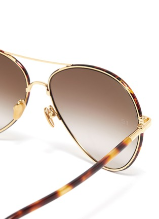 Detail View - Click To Enlarge - LINDA FARROW - 'Diabolo' metal bridge tortoiseshell acetate aviator sunglasses