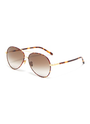 Main View - Click To Enlarge - LINDA FARROW - 'Diabolo' metal bridge tortoiseshell acetate aviator sunglasses