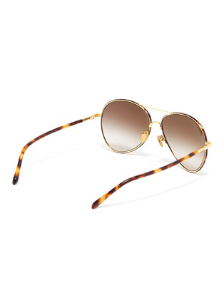 Figure View - Click To Enlarge - LINDA FARROW - 'Diabolo' metal bridge tortoiseshell acetate aviator sunglasses