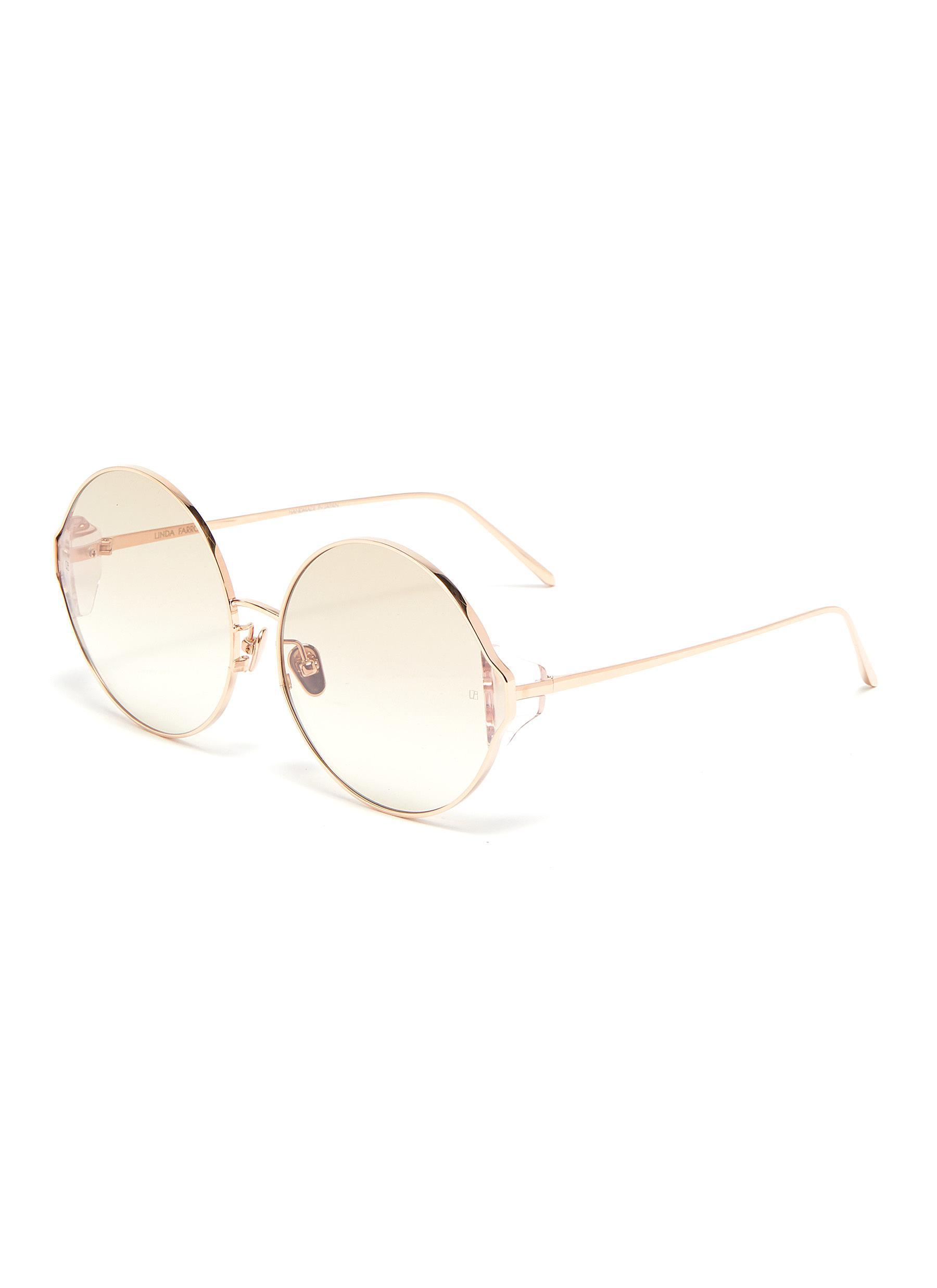 Linda Farrow Acetate Corner Metal Oversized Round Sunglasses In Rose Gold / Blush